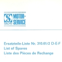 Nr. 310.61/2 DEF Ersatzteile-Liste Sachs 50