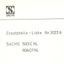 Nr. 3023.6 Ersatzteile-Liste Sachs 50/3/4 NL