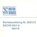 Nr. 3030.2/3 Betriebsanleitung Sachs 504