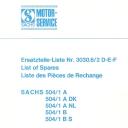 Nr. 3030.6.2 DEF Ersatzteile-Liste Sachs 504