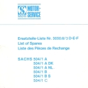 Nr. 3030.6.3 DEF Ersatzteile-Liste Sachs 504/1