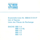 Nr. 3034.6/3 DEF Ersatzteile-Liste Sachs 505/1